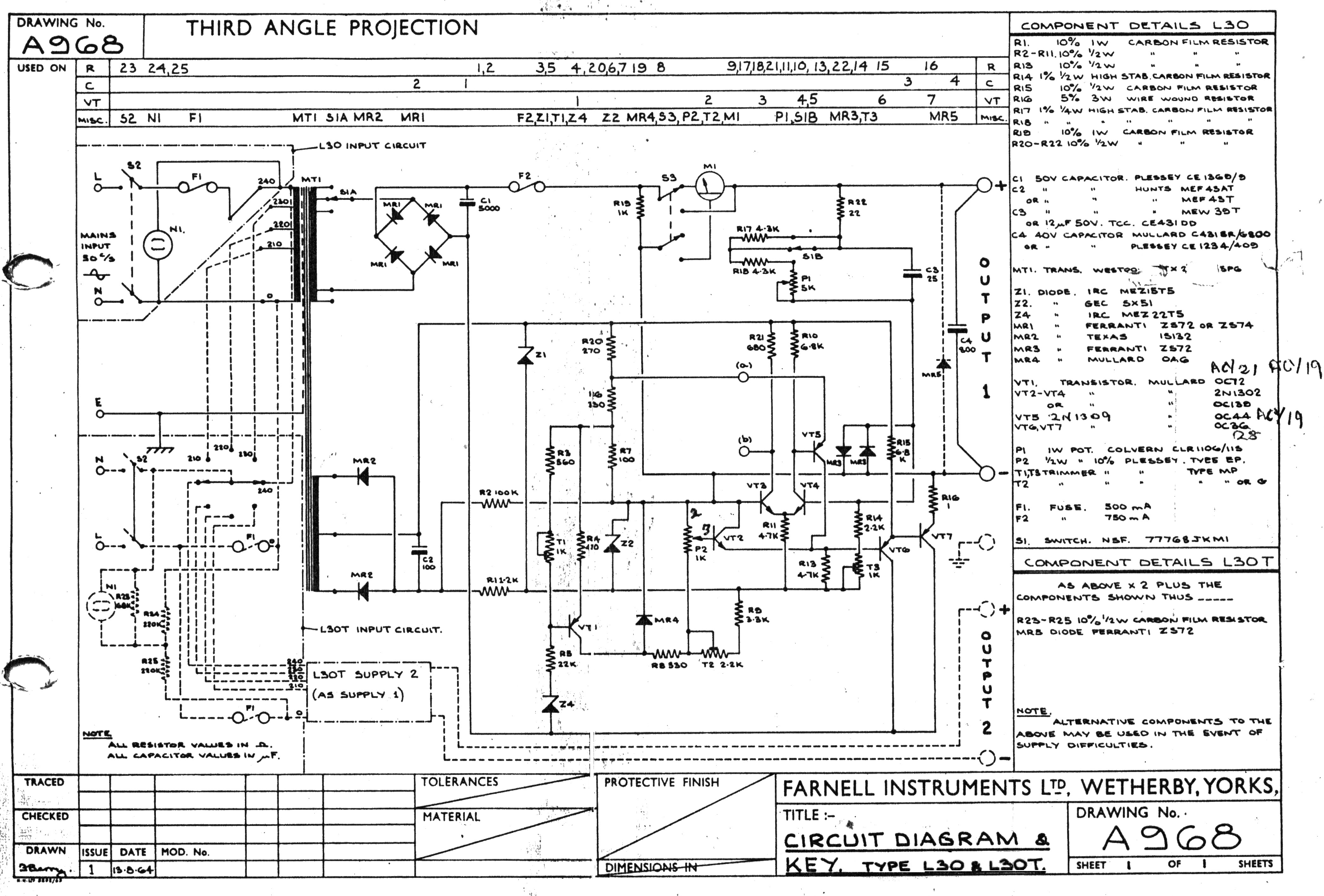 Farnell L30 Stabilised Voltage Supply 1963 Germanium Circuit Diagram Currents In The Darlington Pair A Of Oc36 Power Devices Is Used For Common Collector Output Maintained By Control On Single Sided Pcb Operating From